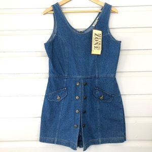 VTG NWT 90's Blue Jean Denim Skort Jumper Dress